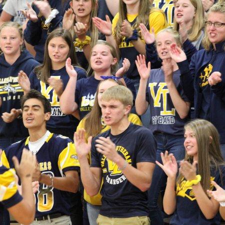 cheering students