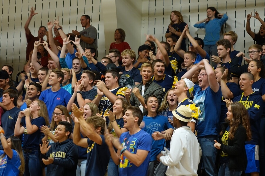 students cheering in the VLHS gymnasium
